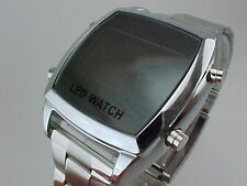 SILVER Vintage 70s 1970s Style LED LCD DIGITAL Retro watch 12 AND 24 HOUR mens 1