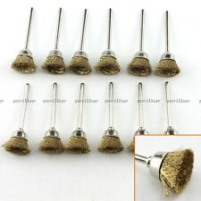 "20 Pieces Brass Wire Brush CUP Shape Brushes 1/8"" Shank 3mm Shaft Rotary Tool"