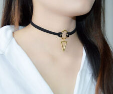 New Trend Fashion Black Leather Choker Necklace Triangle Pendant For Women Girls