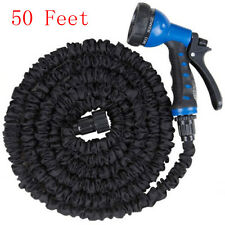 Latex 50 Ft Expandable Flexible Garden Water Hose with 8 Functions Spray Nozzle