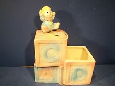 """VINTAGE BABY BLOCK MUSIC BOX PLANTER PLAYS""""ROCK A BYE BABY"""""""