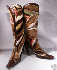 EUC PETER KENT Brown Leather W/Rabbit Fur High Heel Boots Size 36 (6)