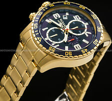 Invicta 45mm Men's Specialty Chronograph Blue Dial 18k Gold IP SS Tachy Watch !