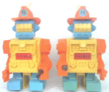 1970 TOPPER DING A LING FIREMAN ROBOTS WITH ORIGINAL BACK PLATE  ARMS REVERSED