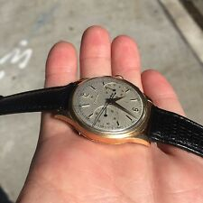 Vintage zenith 18kt gold chronograph 38mm large watch, cal 56 no reserve