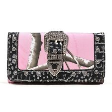 Realtree Pink Camo w/ SilverTrim and Rhinestone Buckle Western Trifold Wallet