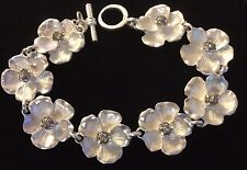 Hallmark Bracelet Silver Metal 8 Flowers with Crystal Cluster Centers 8.5 Inch