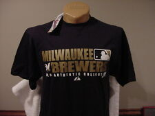 GORGEOUS Milwaukee Brewers Adult Md Blue Majestic Auth Collect Shirt, NEW&NICE!