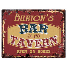 PPBT0570 BURTON'S BAR and TAVERN Rustic Tin Chic Sign Home Store Decor Gift