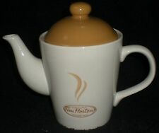 TEAPOT COFFEE POT TIM HORTONS DONUTS ALWAYS FRESH WITH LID WHITE / BEIGE