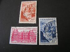 FRANCE, SCOTT # 590+591+593, TOTAL 3 1947 PICTORIALISSUE USED