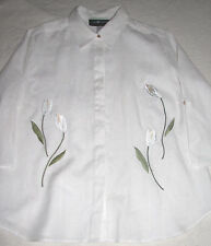 "Sag Harbor Embroidered Flowers on White 100% Linen Blouse Shirt L 46"" Chest"