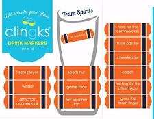 CLINGKS 12 Glass Drink Markers Clings BRONCOS TEAM SPIRITS Wine Charms Gift NEW