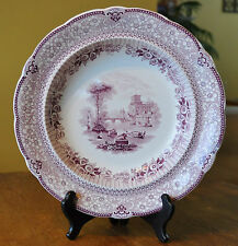 "Lovely Antique Staffordshire Purple Transferware Soup Plate Ridgway ""Grecian"""