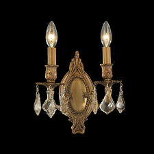 """US BRAND SALE ! Windsor 2 Light French Antique Gold Crystal Wall Sconce Light 9"""""""