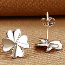 Lucky Clover Earrings Sterling Silver Ear Stud Women's Wedding Jewelry VF-A