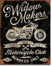 Widow Makers Motorcycle Club TIN SIGN metal ad poster bar garage wall decor 2076