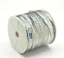 1 Roll(100 Yards) Silver Plated AB Color Sequins Trim 6mm