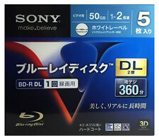 5 Sony 3D Bluray BD-R DL 50GB 2X Speed HD Blu-ray Region Free Discs Printable