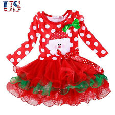 Girls Kids Xmas Party Tutu Dresses Long Sleeve Princess Tulle Skirts For Age 5-6