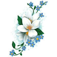 """""""Vintage Floral"""" Temporary Tattoo, White & Blue Flowers, Made in USA"""
