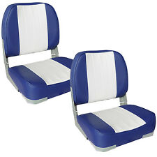 2x [PRO.TEC] Boat seat Blue-White imitation leather Tax Chair