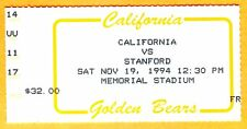 THE BIG GAME! 11/19/94 CAL VS. STANFORD FOOTBALL TICKET STUB