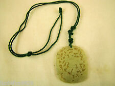 Antique Chinese hand carved pheonix green jade pendant