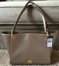 NWT New Ralph Lauren Agdon Leather Shopper Tote Purse Silver Mink