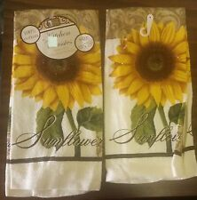 "RARE SET of 2 PRINTED KITCHEN TOWELS, SUNFLOWER (15"" x 25""), 100 % cotton"