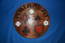 Poker Sign w/ 3 poker chips display carved in Walnut Wood American Made Homemade