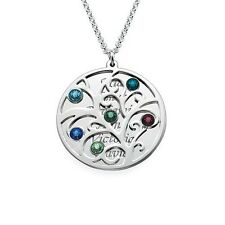 Family Tree Necklace Custom Name Birthstone Gift Silver Personalized Engrave Mom