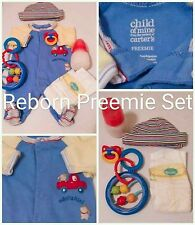 PREEMIE REBORN CARTER'S SLEEPER W/5 REBORN ACCESSORIES SET! Bottle Pacifier
