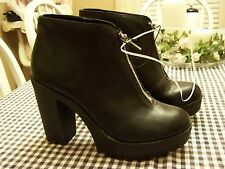 Mossimo Supply Co. Black Ankle Front Zip High Heel Lug Sole Boots Size 11