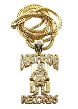 "ICED OUT DEATHROW RECORDS PIECE WITH 36"" FRANCO CHAIN."