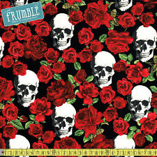 Timeless Treasures Fabric Skulls & Roses Black PER METRE Skull Rose Gothic Tatto