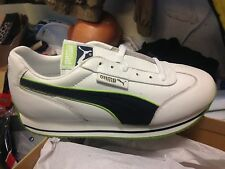 PUMA leather STREET CAT SIZE 5.5 UK white GREEN AT £18.60BNWL