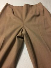 Worth Luxurious Brown Wool Women's Fully Lined Side Zip Pants Size 6 X 31
