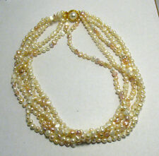 "ELEGANT GOLD PEARL 5 STRAND NECKLACE LARGE CLASP 34"" LONG MULTI COLORED"