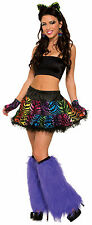 Adult Party Animal Rainbow Tiger Skirt - Tutu Rave Dance Wear fnt