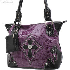 1188 PURPLE CROSS RHINESTONE WESTERN PURSE CONCEALED CARRY WEAPON COWGIRL BAG