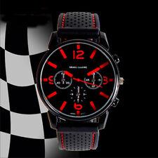 Rot Armbanduhr Herrenuhr Silikon Schwarz LED Edelstahl Uhr Quarzuhr Sportuhr