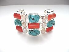 """AB Chunky Turquoise Red Coral Biwa Pearl Bracelet Wrist Chain 925 Silver 8""""-8.5"""""""