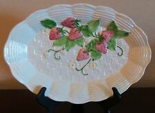 """Bassano Italy 13"""" Oval Serving Platter Embossed Strawberry & Lattice with Leaves"""