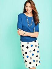 NEW $99 TALBOTS Blue,Black Dotted Dots Jacquard Pencil Skirt Sz 12P,12 Petite
