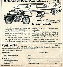 1960 Triumph Motorcycle Motoring in Three Dimentions Print Ad & Catalog Offer