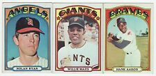 1972 TOPPS LOT! RYAN, MAYS, AARON, CAREW, WILLIAMS, PERRY & MORGAN! VG-EX+