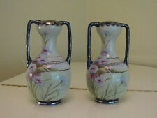 "Antique Nippon Pair of Matching Vases Moriage Hand Painted Marked 12"" Tall"