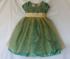 Bonnie Jean Formal Dress 2T Embroidered Bodice Tulle netting skirt ribbon tie