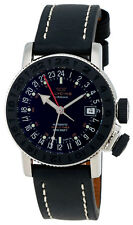 Glycine Airman 18 Sphair Automatic GMT Worldtimer Steel Mens Watch 3928.191 LB9B